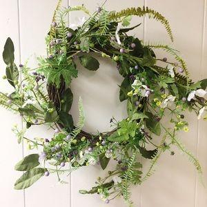 """Large Floral Vine Wreath~12"""" in Diameter~Purpl/Grn"""